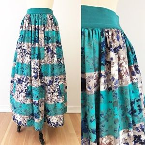 Anthropologie Puffy Cocktail Maxi Skirt Teal Pink